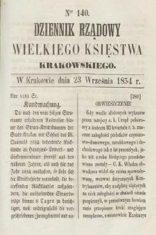 Dziennik Rządowy Wielkiego Księstwa Krakowskiego. 1854, nr140