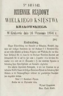 Dziennik Rządowy Wielkiego Księstwa Krakowskiego. 1854, nr141-142