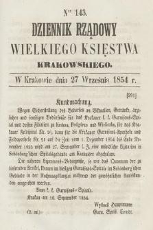 Dziennik Rządowy Wielkiego Księstwa Krakowskiego. 1854, nr143