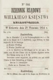 Dziennik Rządowy Wielkiego Księstwa Krakowskiego. 1854, nr144