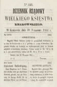 Dziennik Rządowy Wielkiego Księstwa Krakowskiego. 1854, nr145