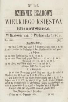 Dziennik Rządowy Wielkiego Księstwa Krakowskiego. 1854, nr146