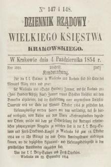 Dziennik Rządowy Wielkiego Księstwa Krakowskiego. 1854, nr147-148