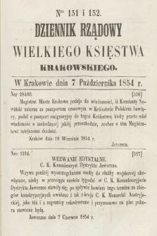 Dziennik Rządowy Wielkiego Księstwa Krakowskiego. 1854, nr151-152