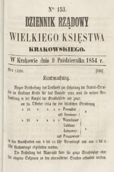 Dziennik Rządowy Wielkiego Księstwa Krakowskiego. 1854, nr153