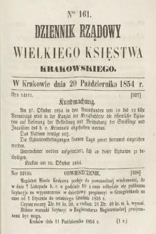 Dziennik Rządowy Wielkiego Księstwa Krakowskiego. 1854, nr161