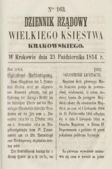 Dziennik Rządowy Wielkiego Księstwa Krakowskiego. 1854, nr163
