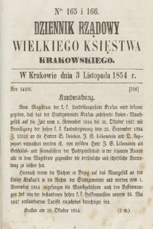 Dziennik Rządowy Wielkiego Księstwa Krakowskiego. 1854, nr165-166