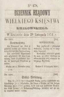 Dziennik Rządowy Wielkiego Księstwa Krakowskiego. 1854, nr178