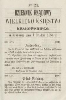 Dziennik Rządowy Wielkiego Księstwa Krakowskiego. 1854, nr179