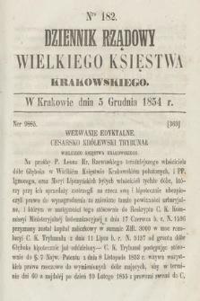 Dziennik Rządowy Wielkiego Księstwa Krakowskiego. 1854, nr182