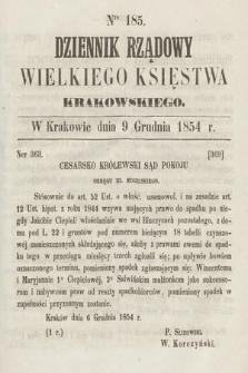 Dziennik Rządowy Wielkiego Księstwa Krakowskiego. 1854, nr185