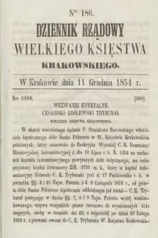 Dziennik Rządowy Wielkiego Księstwa Krakowskiego. 1854, nr186