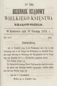 Dziennik Rządowy Wielkiego Księstwa Krakowskiego. 1854, nr190