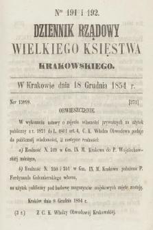 Dziennik Rządowy Wielkiego Księstwa Krakowskiego. 1854, nr191-192