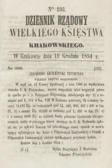 Dziennik Rządowy Wielkiego Księstwa Krakowskiego. 1854, nr193