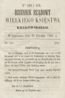 Dziennik Rządowy Wielkiego Księstwa Krakowskiego. 1854, nr194-195