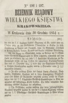 Dziennik Rządowy Wielkiego Księstwa Krakowskiego. 1854, nr196-197