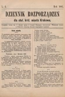 Dziennik Rozporządzeń dla Stoł. Król. Miasta Krakowa. 1882, L.4