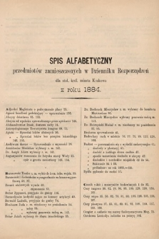 Dziennik Rozporządzeń dla Stoł. Król. Miasta Krakowa. 1884 [całość]