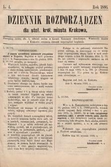 Dziennik Rozporządzeń dla Stoł. Król. Miasta Krakowa. 1886, L.4