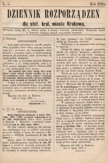 Dziennik Rozporządzeń dla Stoł. Król. Miasta Krakowa. 1886, L.5