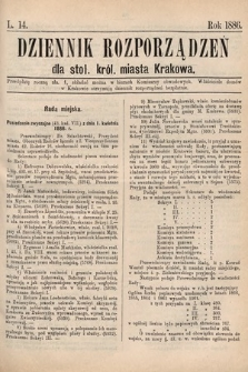 Dziennik Rozporządzeń dla Stoł. Król. Miasta Krakowa. 1886, L.14