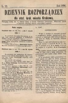 Dziennik Rozporządzeń dla Stoł. Król. Miasta Krakowa. 1886, L.22