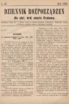 Dziennik Rozporządzeń dla Stoł. Król. Miasta Krakowa. 1886, L.27