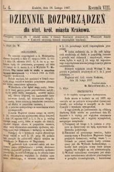 Dziennik Rozporządzeń dla Stoł. Król. Miasta Krakowa. 1887, L.4