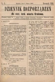 Dziennik Rozporządzeń dla Stoł. Król. Miasta Krakowa. 1887, L.5