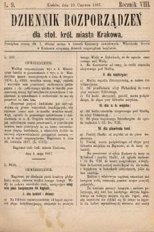 Dziennik Rozporządzeń dla Stoł. Król. Miasta Krakowa. 1887, L.9