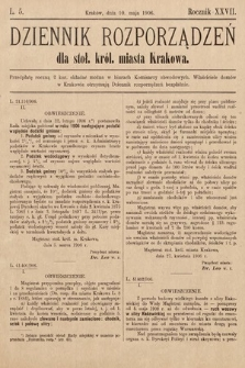 Dziennik Rozporządzeń dla Stoł. Król. Miasta Krakowa. 1906, L.5