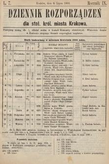 Dziennik Rozporządzeń dla Stoł. Król. Miasta Krakowa. 1888, L.7