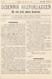 Dziennik Rozporządzeń dla Stoł. Król. Miasta Krakowa. 1911, L.3