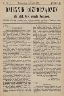 Dziennik Rozporządzeń dla Stoł. Król. Miasta Krakowa. 1889, L.12