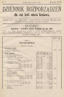 Dziennik Rozporządzeń dla Stoł. Król. Miasta Krakowa. 1897, L.7