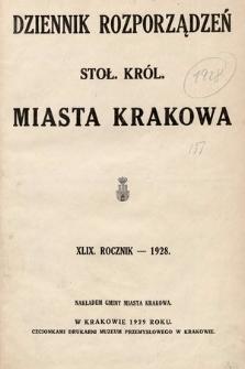 Dziennik Rozporządzeń dla Stoł. Król. Miasta Krakowa. 1928 [całość]