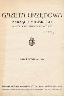 Gazeta Urzędowa Zarządu Miejskiego w Stoł. Król. Mieście Krakowie. 1949 [całość]