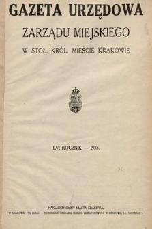 Gazeta Urzędowa Zarządu Miejskiego w Stoł. Król. Mieście Krakowie. 1935 [całość]