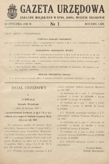 Gazeta Urzędowa Zarządu Miejskiego w Stoł. Król. Mieście Krakowie. 1948, nr1