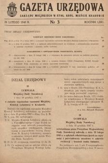 Gazeta Urzędowa Zarządu Miejskiego w Stoł. Król. Mieście Krakowie. 1948, nr3