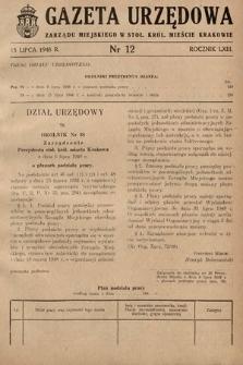 Gazeta Urzędowa Zarządu Miejskiego w Stoł. Król. Mieście Krakowie. 1948, nr12