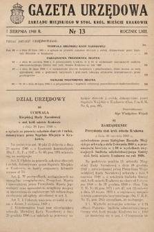 Gazeta Urzędowa Zarządu Miejskiego w Stoł. Król. Mieście Krakowie. 1948, nr13