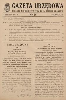 Gazeta Urzędowa Zarządu Miejskiego w Stoł. Król. Mieście Krakowie. 1948, nr16