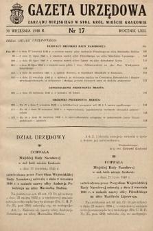 Gazeta Urzędowa Zarządu Miejskiego w Stoł. Król. Mieście Krakowie. 1948, nr17