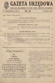Gazeta Urzędowa Zarządu Miejskiego w Stoł. Król. Mieście Krakowie. 1948, nr18