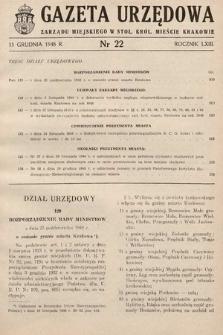 Gazeta Urzędowa Zarządu Miejskiego w Stoł. Król. Mieście Krakowie. 1948, nr22
