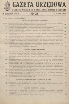 Gazeta Urzędowa Zarządu Miejskiego w Stoł. Król. Mieście Krakowie. 1948, nr23