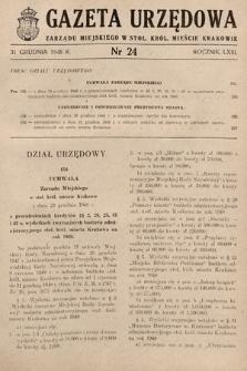 Gazeta Urzędowa Zarządu Miejskiego w Stoł. Król. Mieście Krakowie. 1948, nr24